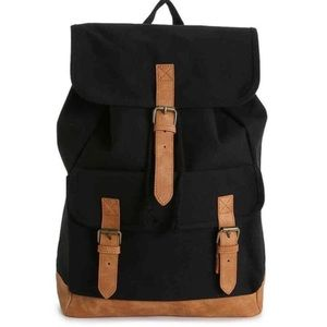 DSW Black and Tan canvas backpack